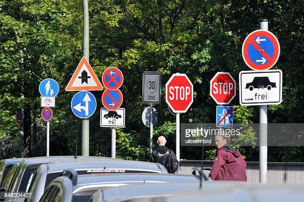 Germany Berlin Charlottenburg - forest of traffic signs at Schwarzbacherstrasse