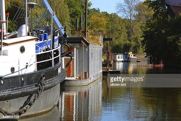 Germany Berlin Charlottenburg houseboats on the canal Landwehrkanal at Charlottenburger Tor