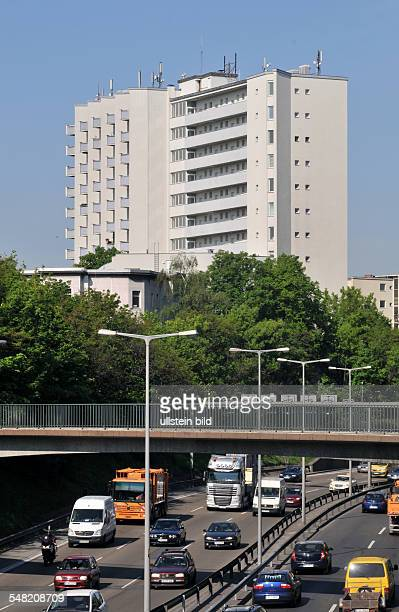 Germany Berlin Charlottenburg motorway A100 in the city multistorey building at Rathenauplatz