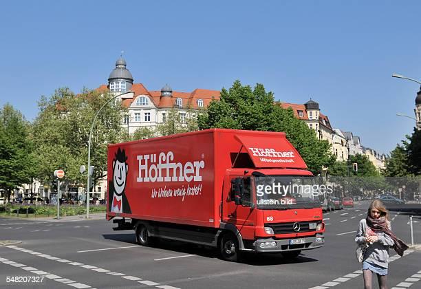 Germany Berlin Charlottenburg - Olivaer Platz, crossroad Kurfuerstendamm - Leibnizstrasse, truck of the furniture store Moebel Hoeffner
