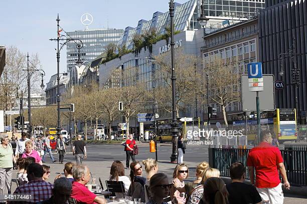 Germany Berlin Charlottenburg Sidewalk cafe at the corner 'Kurfuerstendamm' and 'Joachimstaler Strasse'
