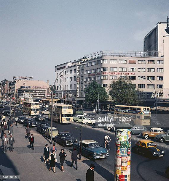 Germany Berlin Charlottenburg Traffic on boulevard 'Kurfuerstendamm'. - um 1958