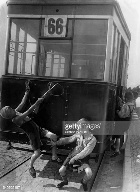 Germany; Berlin; children clinging at the tram - 1929