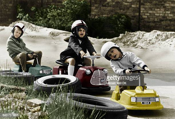 Germany Berlin children driving gocartsDigitally colorized Original image no 00773126