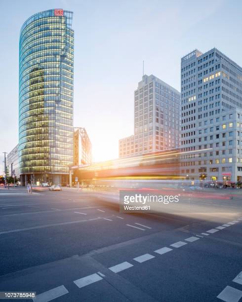 Germany, Berlin, crossroad at Potsdamer Platz at twilight