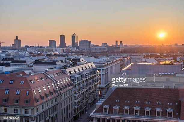 Germany, Berlin, elevated city view at sunset