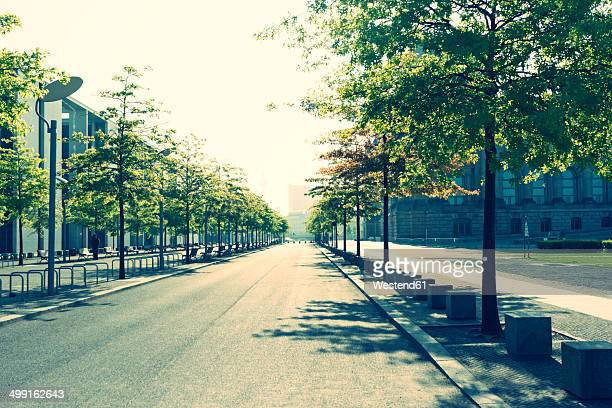 Germany, Berlin, empty street near Reichstag