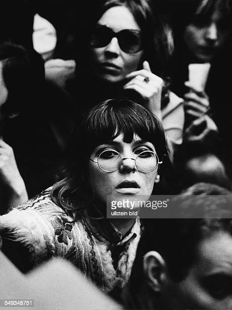 Germany Berlin February 1968 VietnamCongress in the university TU Berlin young women in the overcrowded Audimax