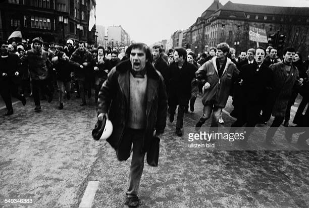 Germany Berlin February 1968 VietnamDemonstration young people and Rudi Dutschke running through the street