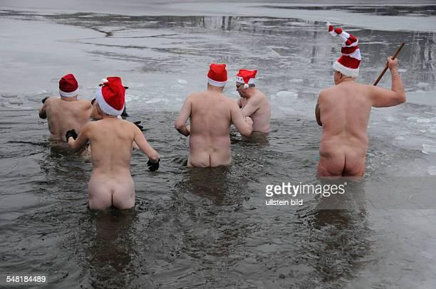 Germany Berlin Hellersdorf members of the Berlin Seals club are swimming in the icy water of the Orankesee lake