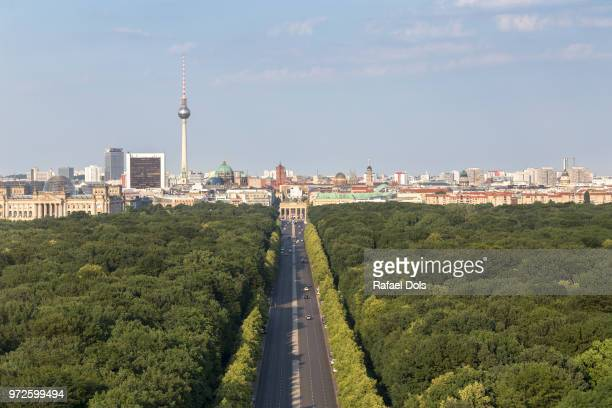 germany, berlin - high angle view over the tiergarten. - central berlin stock photos and pictures