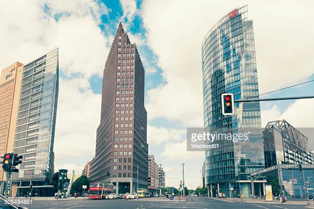 Germany, Berlin, high-rise buildings of Renzo Piano, Hans Kollhoffand Deutsche Bahn Tower at Potsdam Square