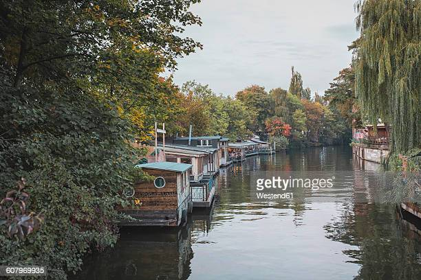 germany, berlin, houseboats on spree river - houseboat stock pictures, royalty-free photos & images