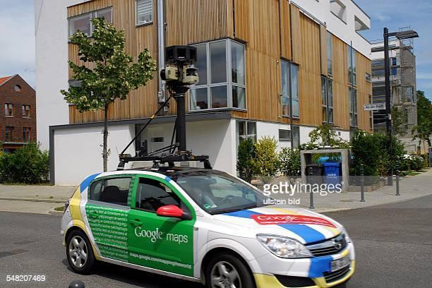 Germany Berlin Lichtenberg Google maps camera car in a housing area at Rummelsburger Bucht