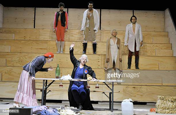 Germany Berlin MaximGorkiTheater play Danton's Death by Georg Buechner directed by Sebastian Baumgarten actors with several roles Anja Schneider...