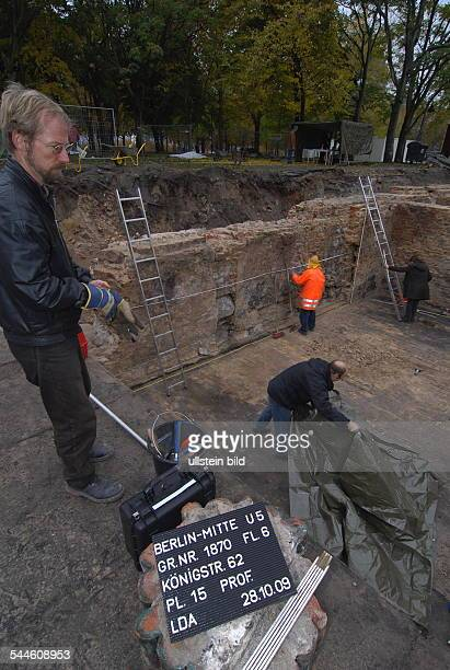 Germany Berlin Mitte archaeological excavations at MarxEngelsForum near city hall Rotes Rathaus