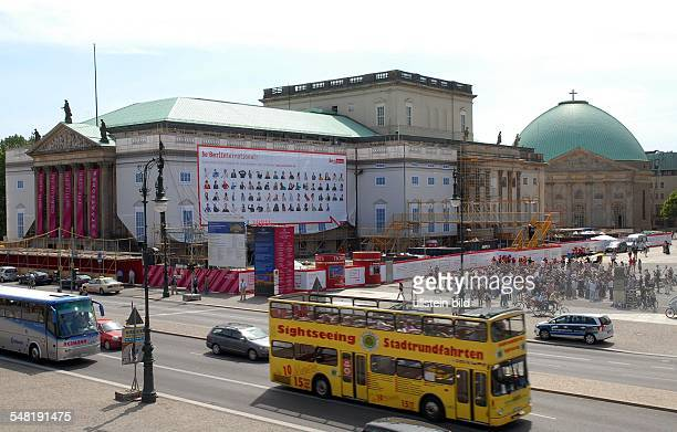 Germany Berlin Mitte - be Berlin international Image campaign, giant poster with portraets of Berlin people at the construction frame at the State...