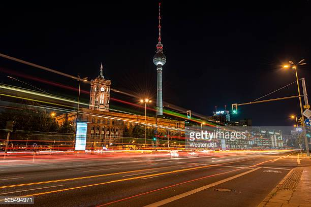 Germany, Berlin, Mitte, Berlin TV Tower and Red Town Hall at Alexanderplatz at night