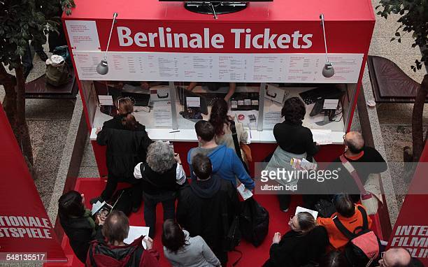 Germany Berlin Mitte Berlinale 2011 people are queuing to buy tickets for the film festival in the shopping centre Potsdamer Platz Arkaden
