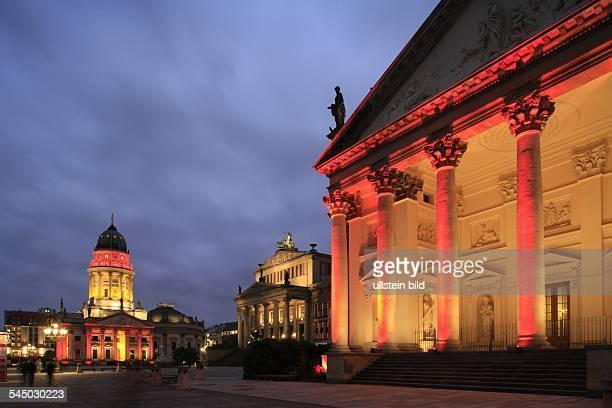 Deutscher Dom in the center Konzerthaus and Franzoesischer Dom at Gendarmenmarkt during 3rd Festival of Lights