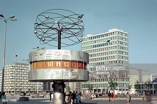 GDR world clock and Teachers House at Alexanderplatz