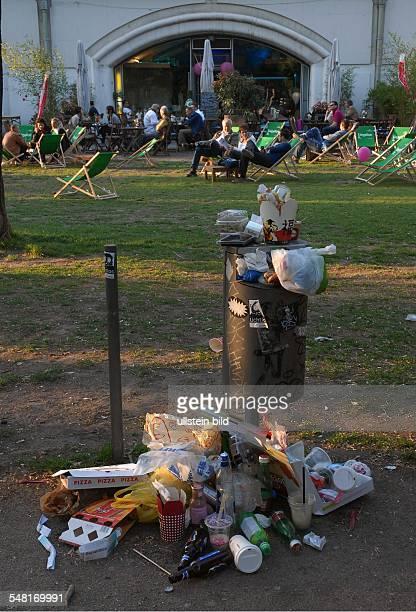 Germany Berlin Mitte overflowing waste bin at Hackescher Markt
