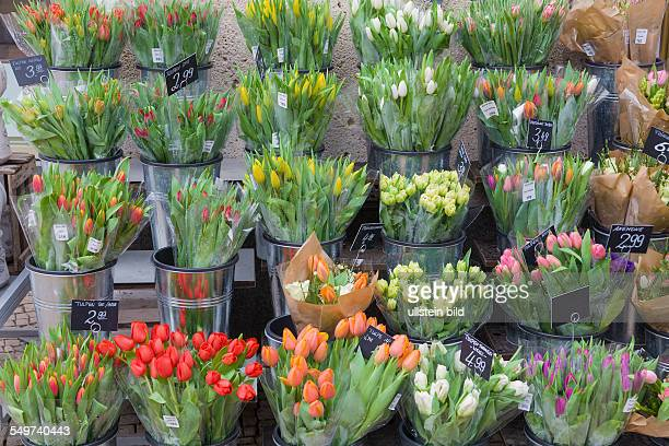 Springflowers in front of a florist flower shop