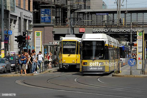 Germany Berlin Mitte - Streetcars near railway station 'Friedrichstrasse'.
