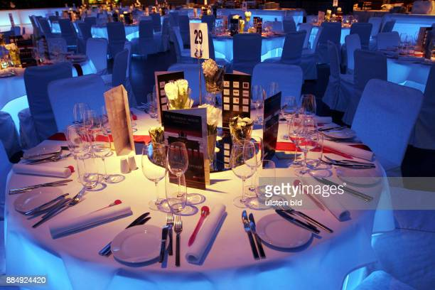Germany Berlin Mitte table decoration at the 112th Presseball in the UllsteinHalle