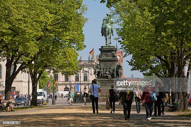 the street 'Unter den Linden' with the monument of King Friedrich II of Prussia and the 'Rotes Rathaus'