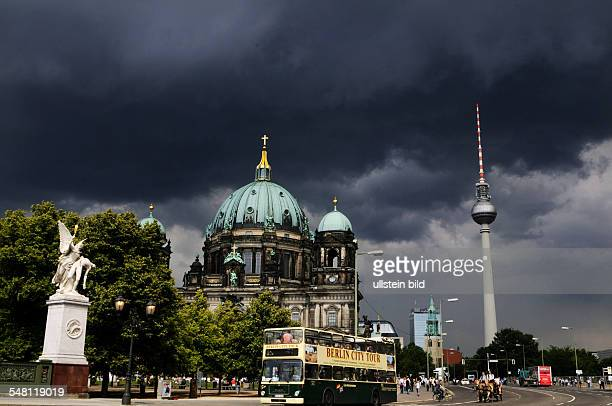Germany Berlin Mitte thunderstorm Berlin Cathedral in the middle television tower on the right side