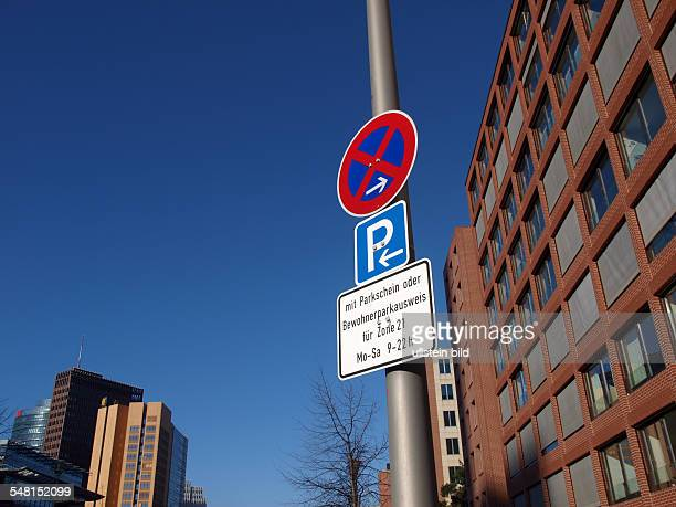 Germany Berlin Mitte traffic signs parking zone at Potsdamer Platz
