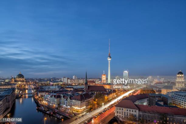 germany berlin mitte - view to the nikolaiviertel and tv tower - berlin stock pictures, royalty-free photos & images