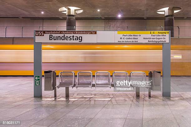 Germany, Berlin, modern architecture of subway station Bundestag with moving underground train
