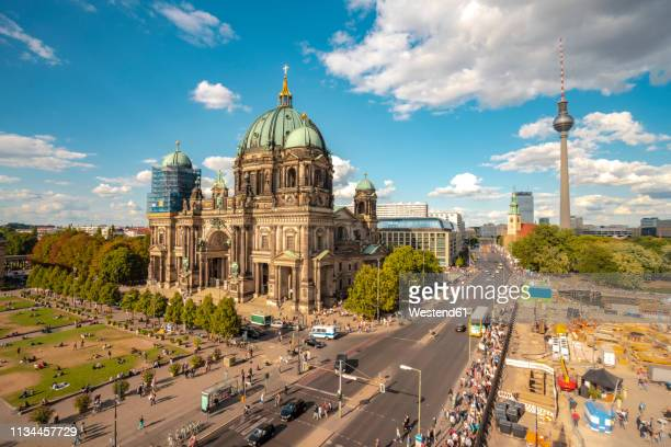germany, berlin, museumsinsel with berlin cathedral and berlin tv tower in the background - cathedral stock pictures, royalty-free photos & images
