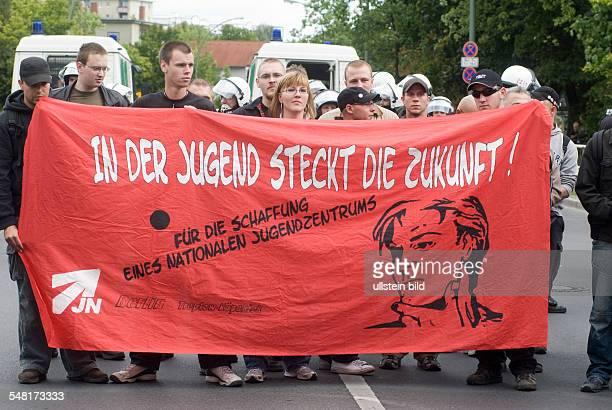 Germany Berlin Neukoelln protest of the National Democratic Party against a new built Sri Mayurapathy Murugan temple of the Berlin Hindu Mahasabhai eV