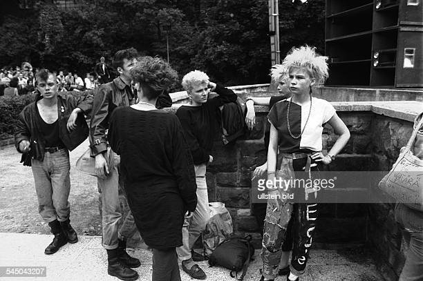 Germany Berlin OstBerlin East Berlin punks on the fringes of a concert