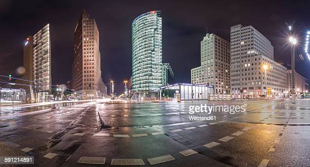 Germany, Berlin, Panoramic view of Potsdamer Platz during a rainy night