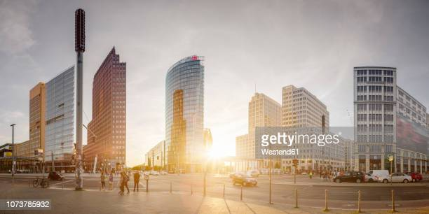 germany, berlin, panoramic view of potsdamer platz - central berlin stock photos and pictures