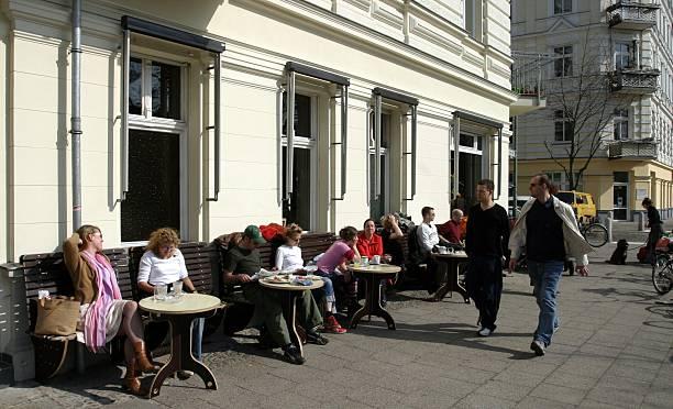Germany Berlin Prenzlauer Berg Helmholtzplatz Street Café