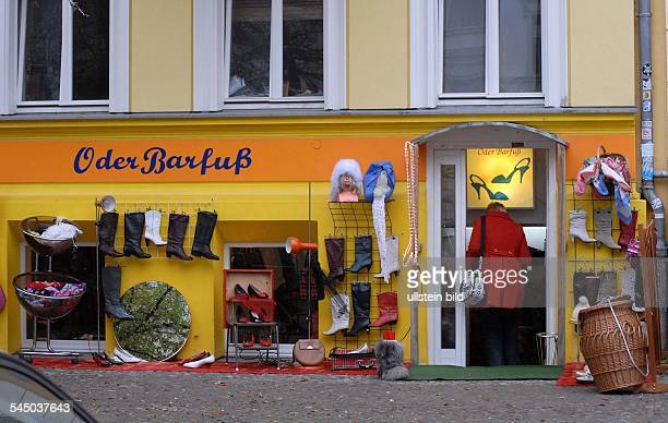 Germany Berlin Prenzlauer Berg shop Oder Barfuss in the Oderberger Strasse