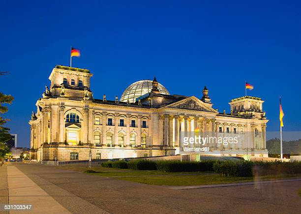 Germany, Berlin, Reichstag building illuminated at night