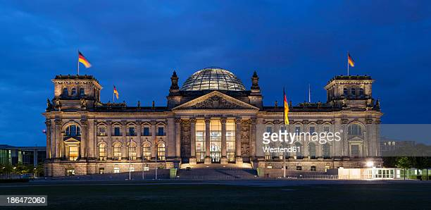 Germany, Berlin, Reichstag dome at night