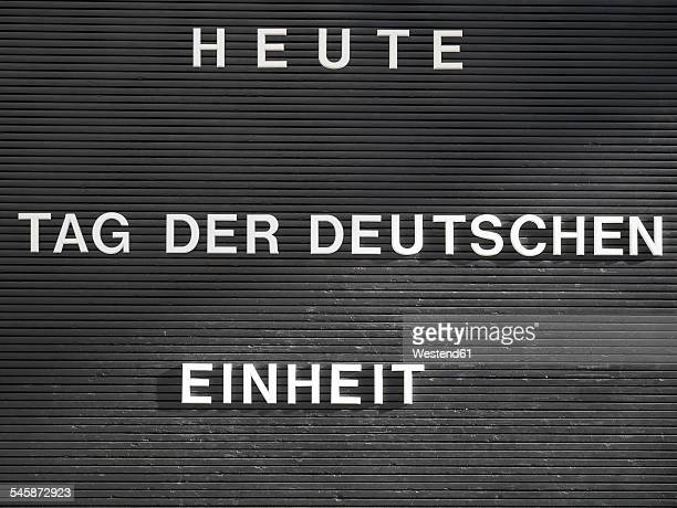 Germany, Berlin, sign, today German Unity Day, writing