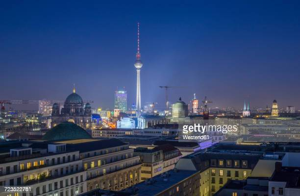Germany, Berlin, skyline with television tower at night