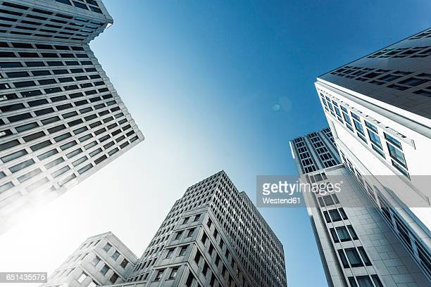 Germany, Berlin, skyscrapers at Potsdamer Platz in the morning seen from below