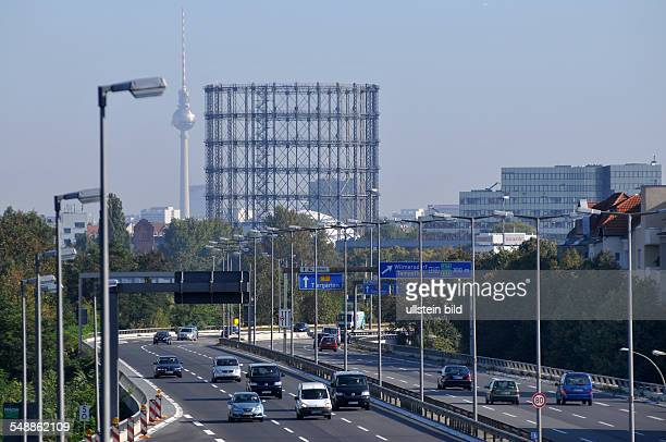 Germany Berlin Steglitz - motorway A10, in the background the former gasometer Schoeneberg