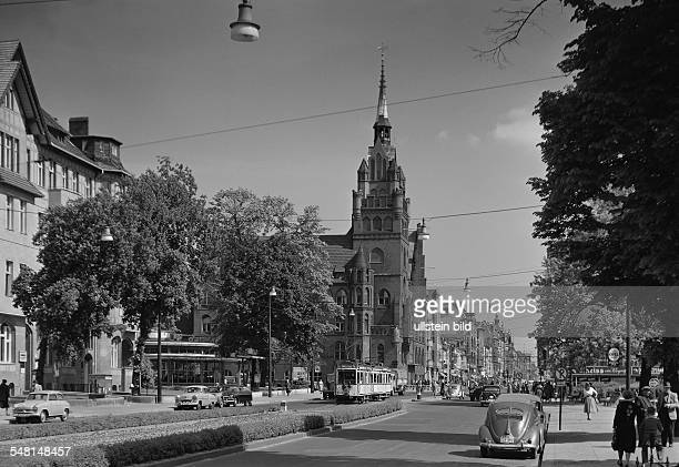 Germany Berlin Steglitz - 'Schlossstrasse' with old town hall - about 1955
