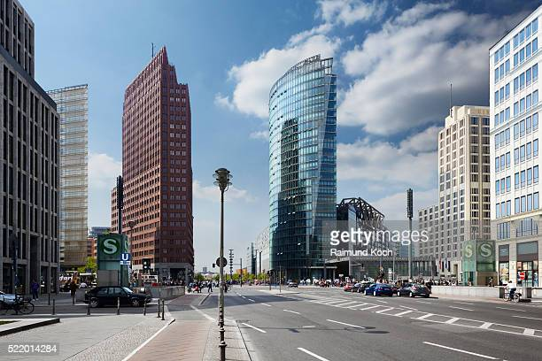 germany, berlin, street level view of potsdamer platz - potsdamer platz stock pictures, royalty-free photos & images