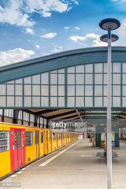 Germany, Berlin, subway station Gleisdreieck on the surface with waiting underground train